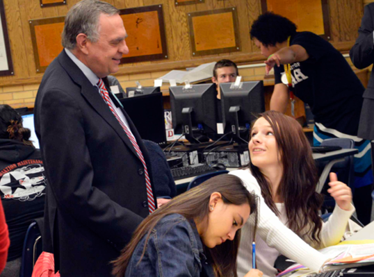 Commissioner of Higher Education Dave Buhler speaks with Kearns HS seniors as they apply to college during Utah College Application Week, Nov. 12, 2014.