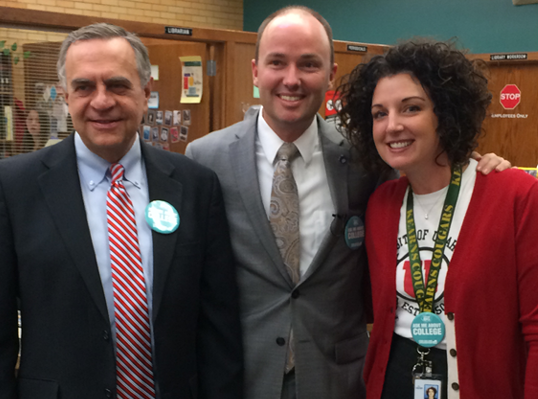(L-R) Commissioner of Higher Education David Buhler, Lt. Governor Spencer Cox, and Utah College Application Week Site Coordinator for Kearns High School and school counselor, Danie Natter, Nov. 12, 2014.