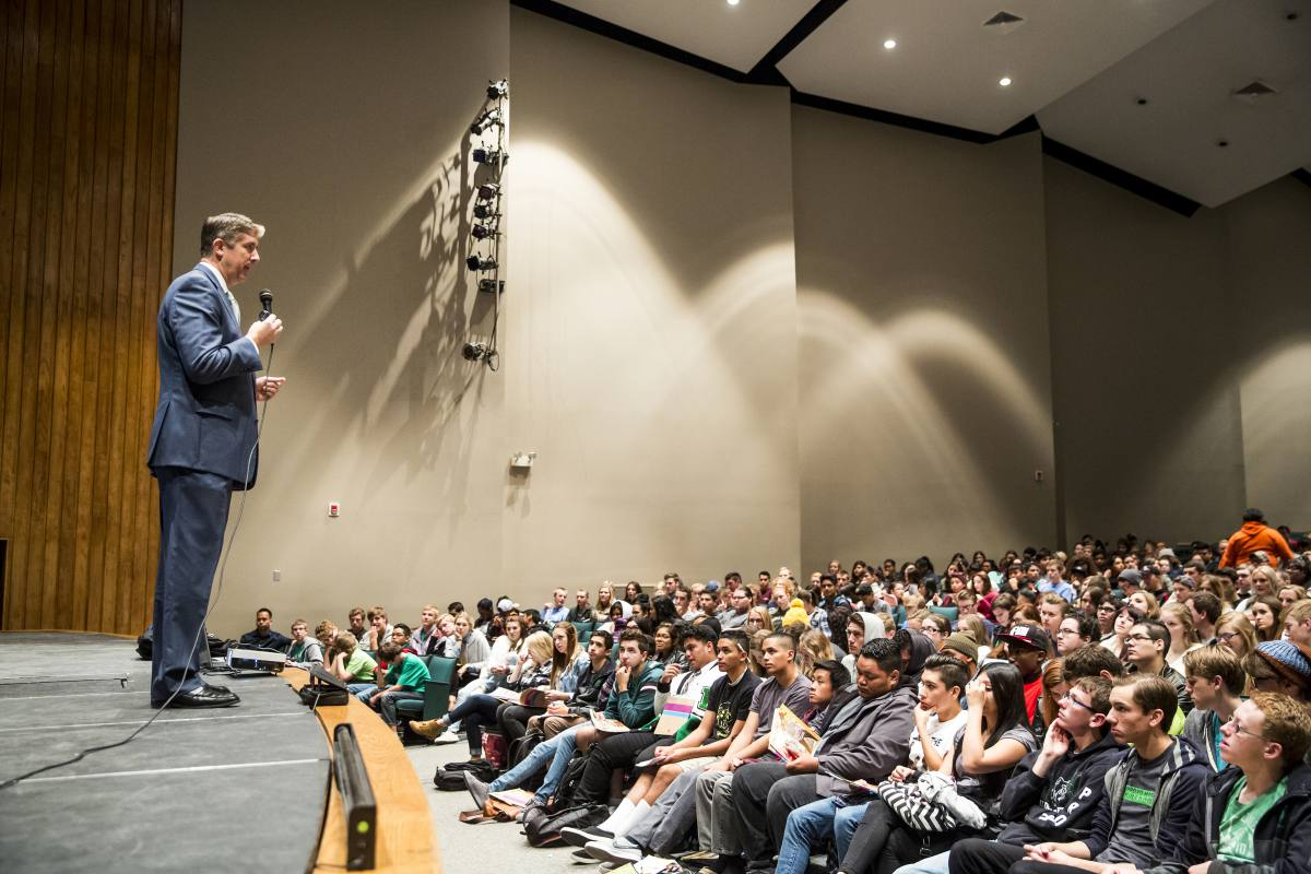 President Matthew S. Holland speaks to students at Provo High School, Thursday November 5, 2015. (Nathaniel Ray Edwards, UVU Marketing)